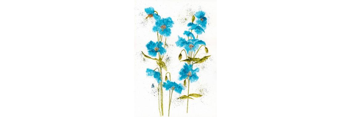 Blue Pansies Print