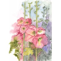 Print - Hollyhocks by Nancy Aitken