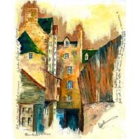 Print - Plain Stairs Close Old Edinburgh by Robbie Peterson